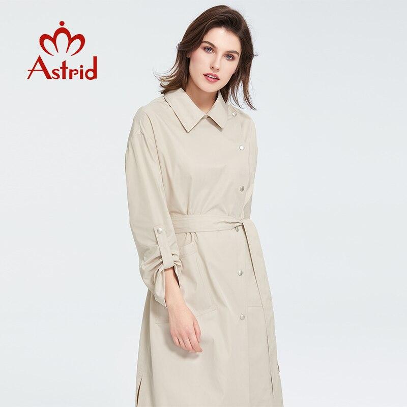 ¡Novedad de Primavera de 2020! Gabardina informal para mujer de Astrid, prendas de vestir de gran tamaño, ropa holgada a la moda con cinturón, abrigo para mujer 7090