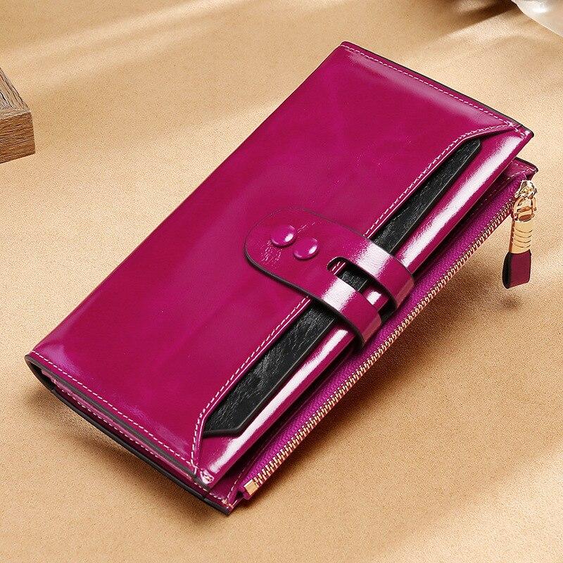 محفظة نسائية طويلة من الجلد الطبيعي ، محفظة فاخرة ذات علامة تجارية ، شمع زيت ، محفظة