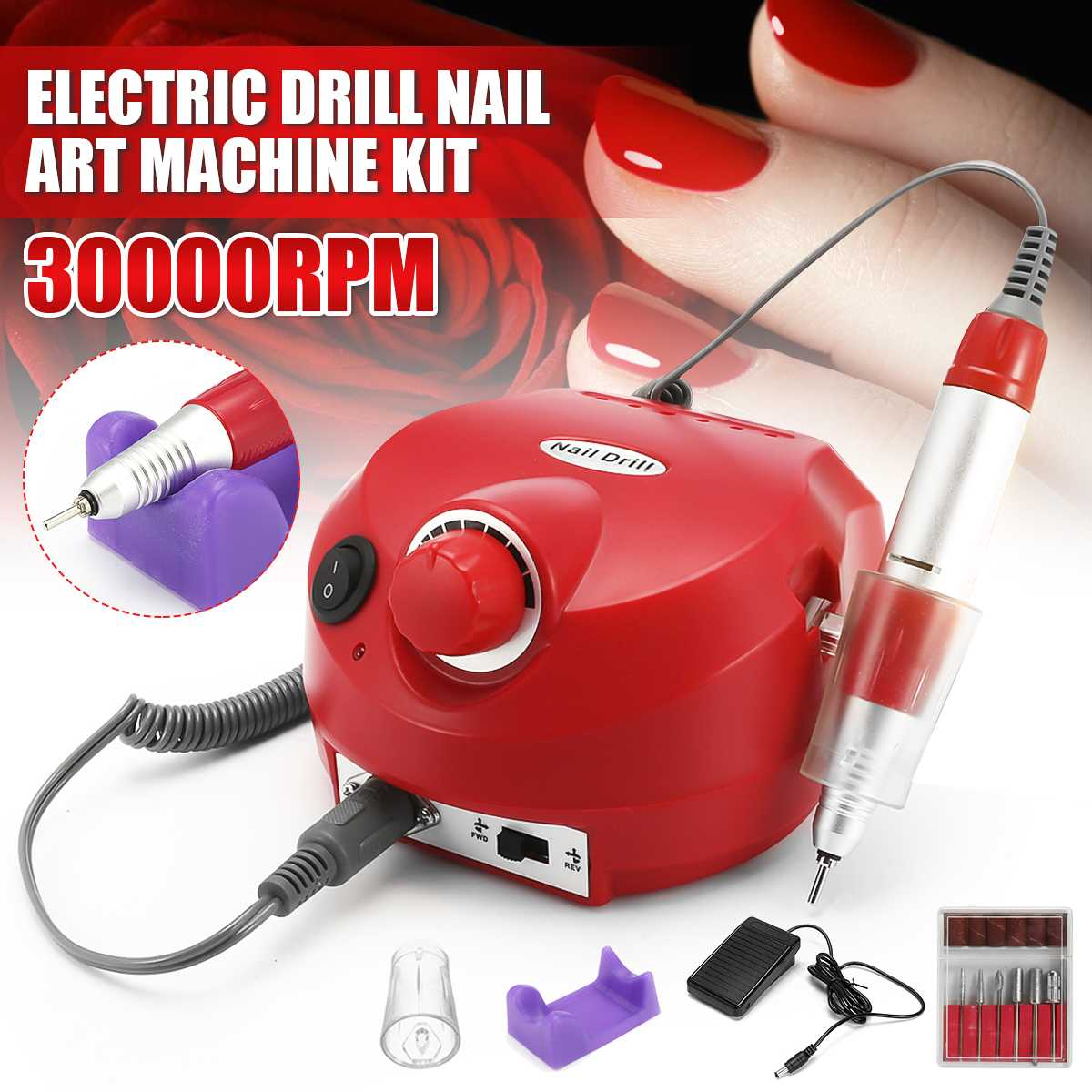 Máquina de Broca do Prego Conjuntos para Manicure Elétrica Moinho Cortador Unhas Dicas Manicure Pedicure Arquivo Casa Ferramenta 30000 Rpm