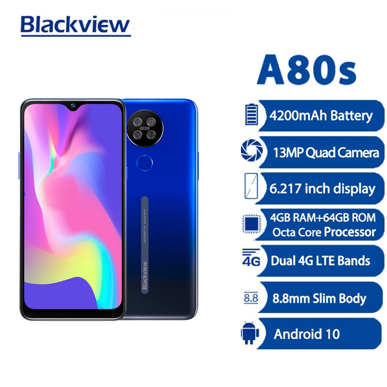 Смартфон Blackview A80s, 4 Гб + 64 ГБ, 6,217 дюйма, Android 10, 13 МП, 4G LTE, 4200 мАч, мобильный телефон