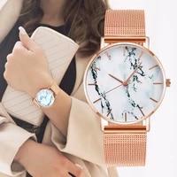 fashion jewelry gifts trendy rose gold mesh belt creative design marble pattern female wrist watch luxury womens quartz watches