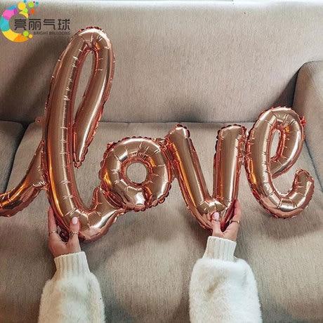 1pc LOVE Balloons Birthday Party Supplies Decorations Adult Wedding Rose Gold Globos Aniversario Ballons Team Bride Anniversaire