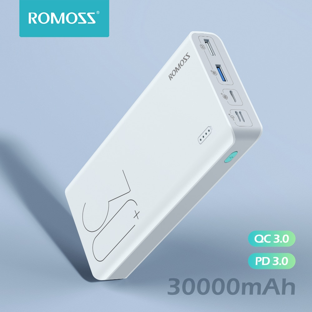 شاحن بطارية خارجي محمول من ROMOSS Sense 8 + باور بانك 30000 mAh QC PD 3.0 شحن سريع Powerbank 30000 mAh لشحن شاومي Mi