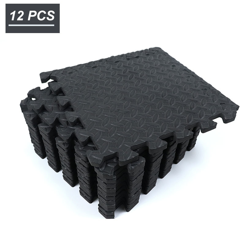 12PCS 30*30cm EVA Leaf Grain Floor Sport Protection Gym Mat Non-Slip Soft Foam Splicing Rugs Thicken Shock Room Workout Yoga Mat