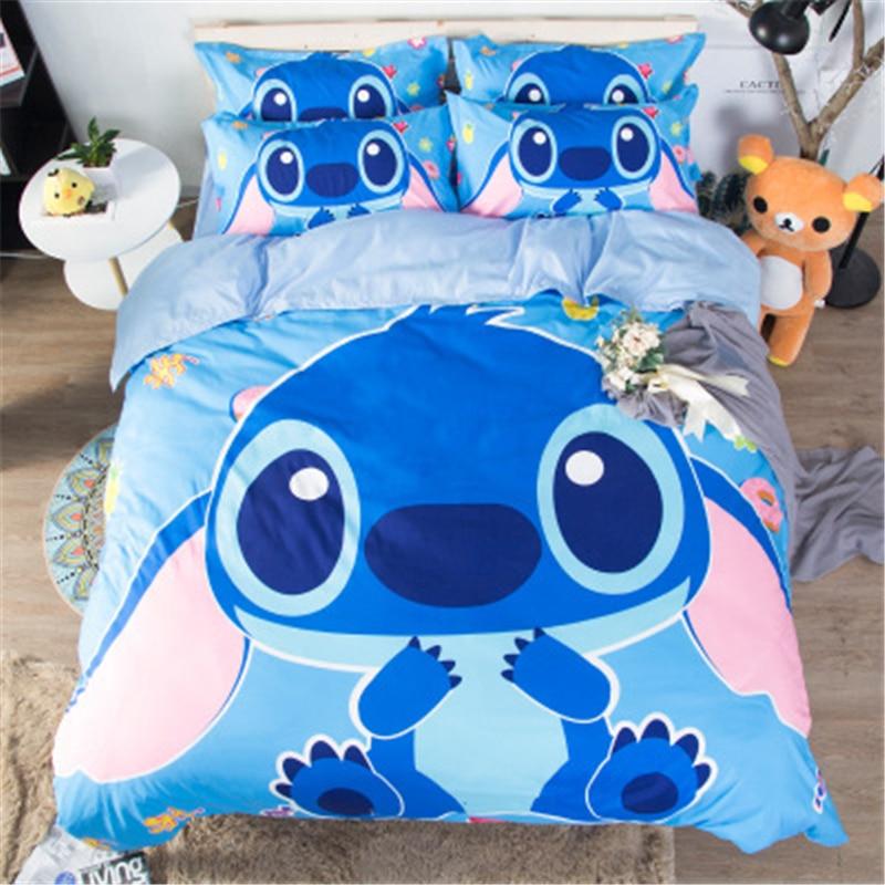 Disney Popular Comic Stitch Cute Stitch Pattern Bedding Set Cartoon Duvet Bed Cover Pillowcase Girls and Boys Bedroom Decoration