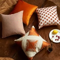 luxury throw pillowcases orange color velvet dots houndstooth pattern sofa cushion covers fashion decorative square pillow cover
