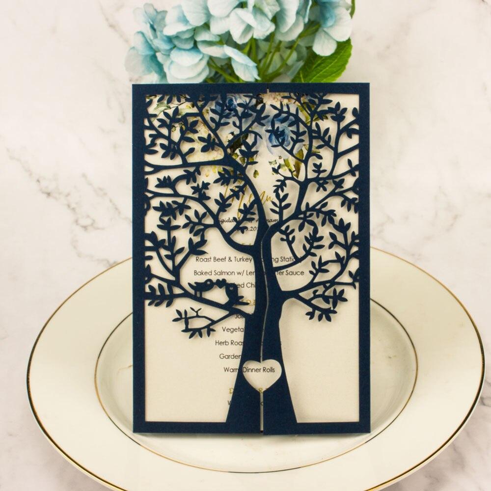 Envío Gratis 1X oro marino Blanco/plata árbol hueco brillante cortado por láser para bolsillo invitación de boda Tarjeta de invitación sobre de felicitación