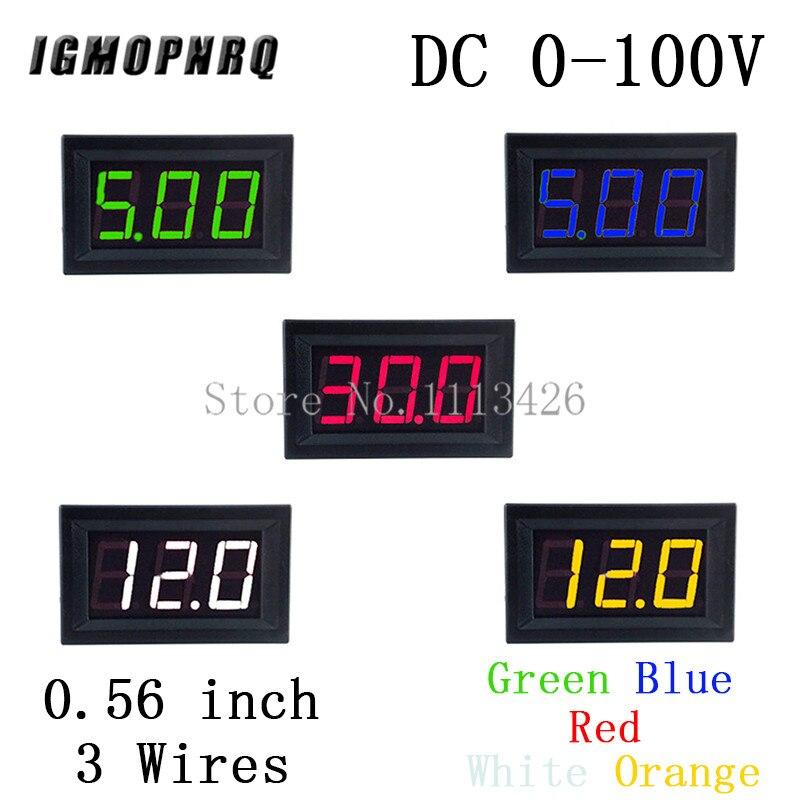 Mini voltmètre testeur numérique tension Test batterie cc 0-100V 3 fils rouge vert bleu Orange blanc pour Auto voiture affichage LED jauge