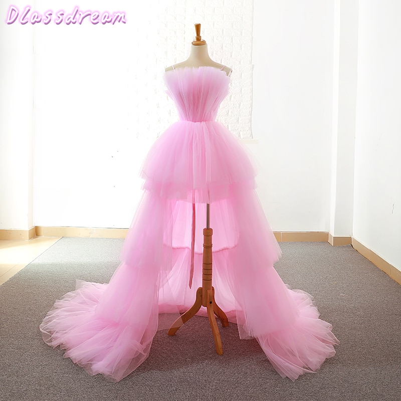 Pink Homecoming Dresses 2020 Short Front Long Back Prom Dress Graduation Evening Gowns Tiered Layers Women Formal Party Dress