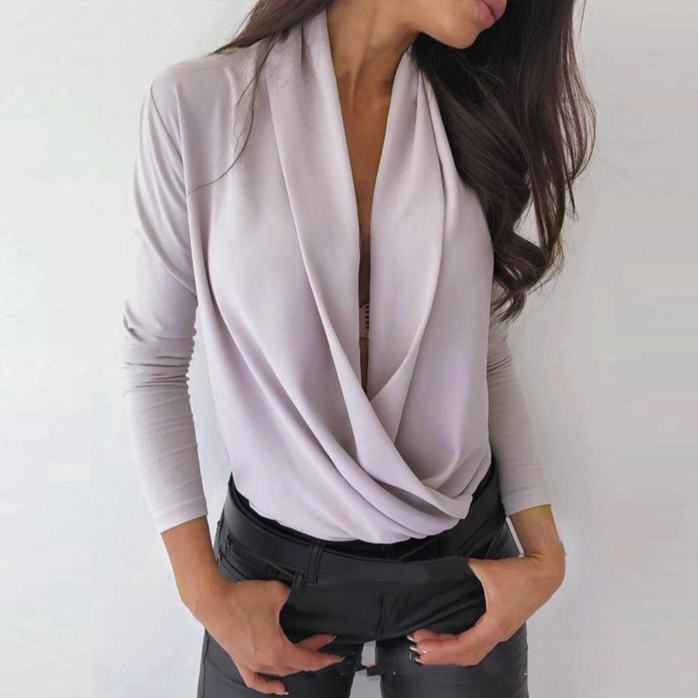 2020 camisas de bolsillo para primavera y otoño para mujer, blusa sexi con escote en V profundo, Tops de manga larga, blusa ajustada para mujer, blusa de talla grande S-3XL, Top femenino