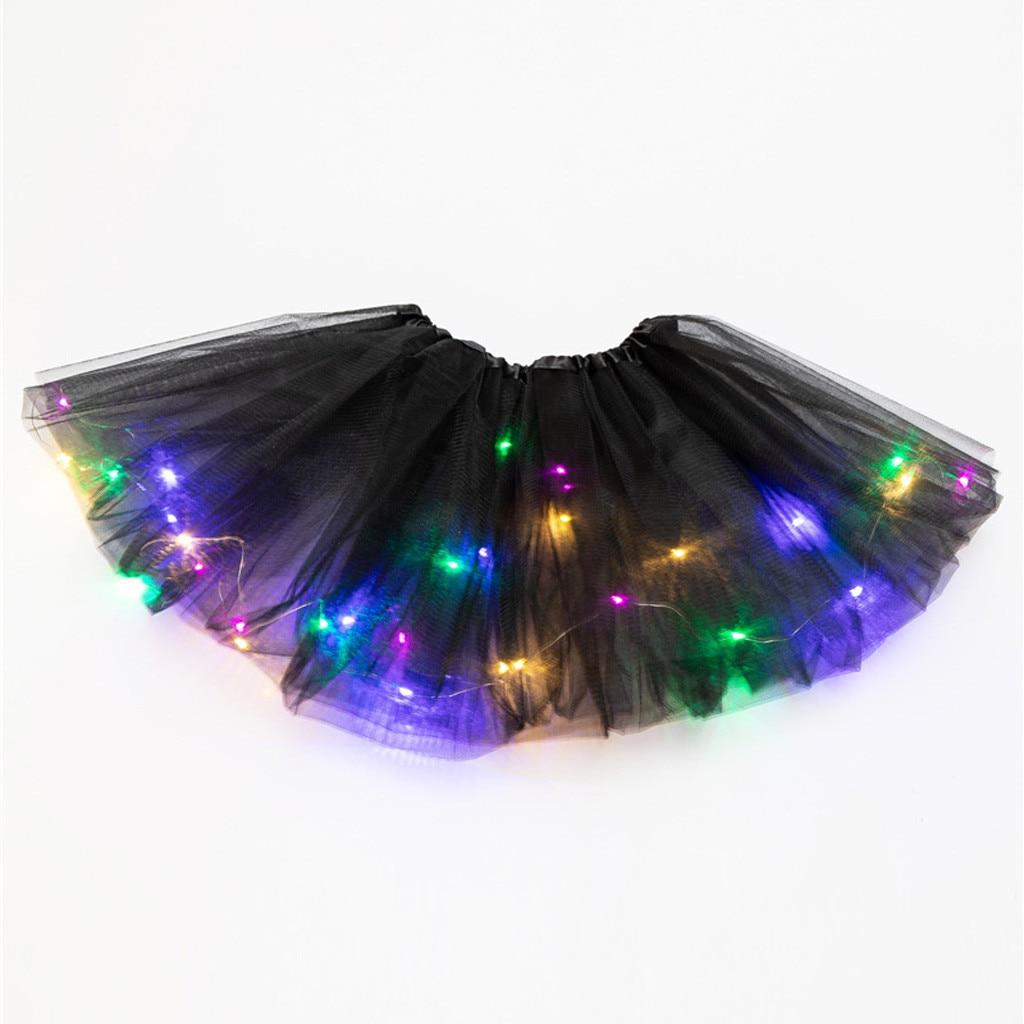 Falda de malla de lentejuelas para Mujer Faldas plisadas de princesa de tul con bombilla pequeña Led estilo coreano para mujer falda tutú atractivo # T5P