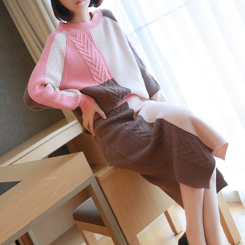 Maternity Sweater Suit Autumn And Winter Women Sweater Pregnancy Clothing Korean Style Sweater Dress 1661003 enlarge