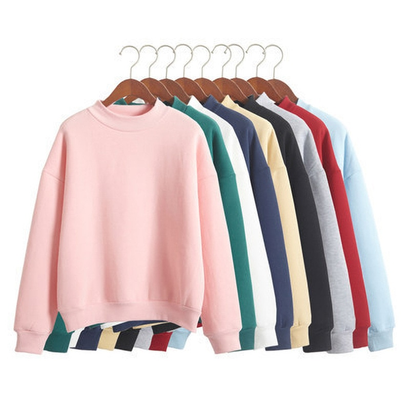 Woman Sweatshirts 2020 Sweet Korean O-neck Knitted Pullovers Thick Autumn Winter Candy Color Loose H