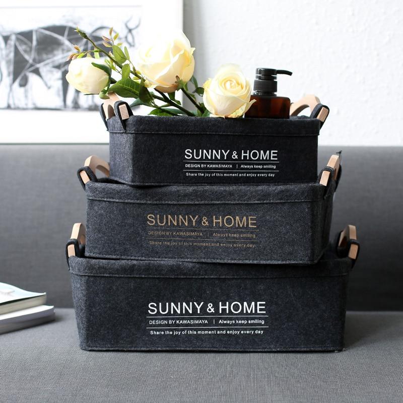 Felt Cloth Desk Storage Basket Stuff Cosmetic Storage Box Livingroom Neatening Decoration