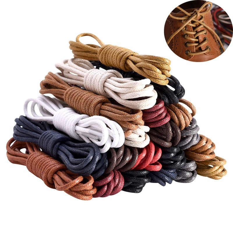 1Pair Unisex Shoelaces For Sneakers Women Men Waterproof Leather Shoe Laces Martin Boot Shoes Waxed Round Shoelace For Shoes