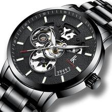 IK Mens Watches Luxury Brand Automatic Mechanical Watches Fashion Skeleton Design Luminous Hands Sta