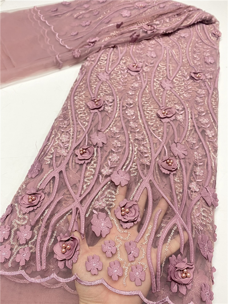 African French Tulle Lace Fabric 2020 High Quality 3D Lace Applique With Beaded Bridal Nigerian Lace Fabrics Sewing YA3730B-1