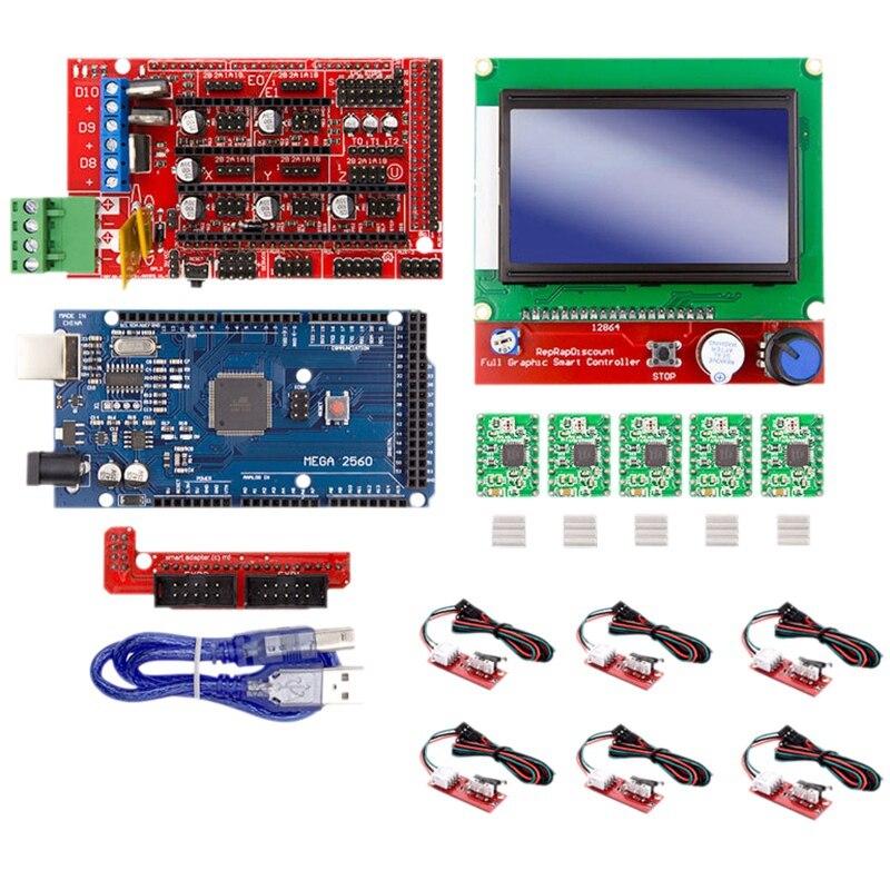 طابعة ثلاثية الأبعاد 12864 شاشة الكريستال السائل + MEGA2560 التحكم الرئيسي + Ramps1.4 لوح تمديد + A4988 عدة مع بالوعة الحرارة USB Calbe الطائر
