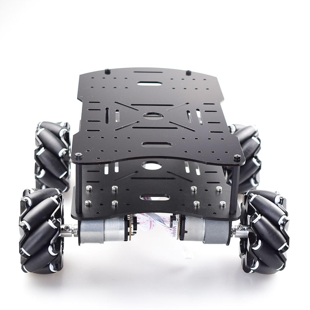 لوحة مزدوجة 10 كجم تحميل 4WD Omni Mecanum عجلة سيارة عدة مع 4 قطعة سرعة المحرك التشفير لاردوينو التوت بي روس روبوت