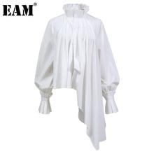 [EAM] camicetta pieghettata irregolare di grandi dimensioni da donna di grandi dimensioni camicia allentata a maniche lunghe con risvolto nuovo moda primavera autunno 2021 1DD0722