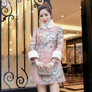 Qipao Traditional Chinese Oriental Dress Women Warm Cheongsam Modern Chinese Dress Qi Pao Thick Female Winter Asian Dress FF2553