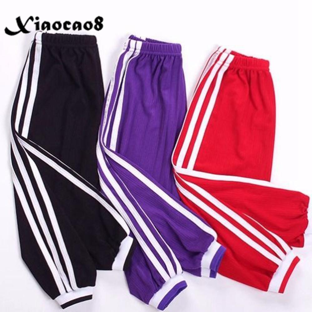 Summer Big Boys Girls Thin Harem Pants Children Loose Pants Teenage Kids Side Stripe Sport Trousers Toddler Leggings6 8 10 12 14