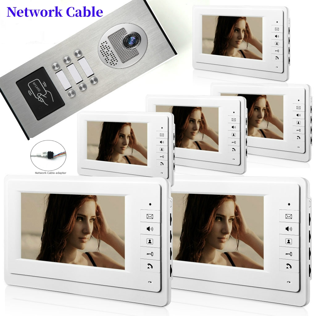 7 بوصة 2/3/4/6 شقة/الأسرة الفيديو باب الهاتف إنترفون نظام RFID IR-CUT HD 700TVL كاميرا الجرس للرؤية الليلية كاميرا المياه