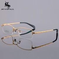 jifanpaul half frame front frame flexible plastic temple optical glasses unisex glasses full frame metal glasses free shipping
