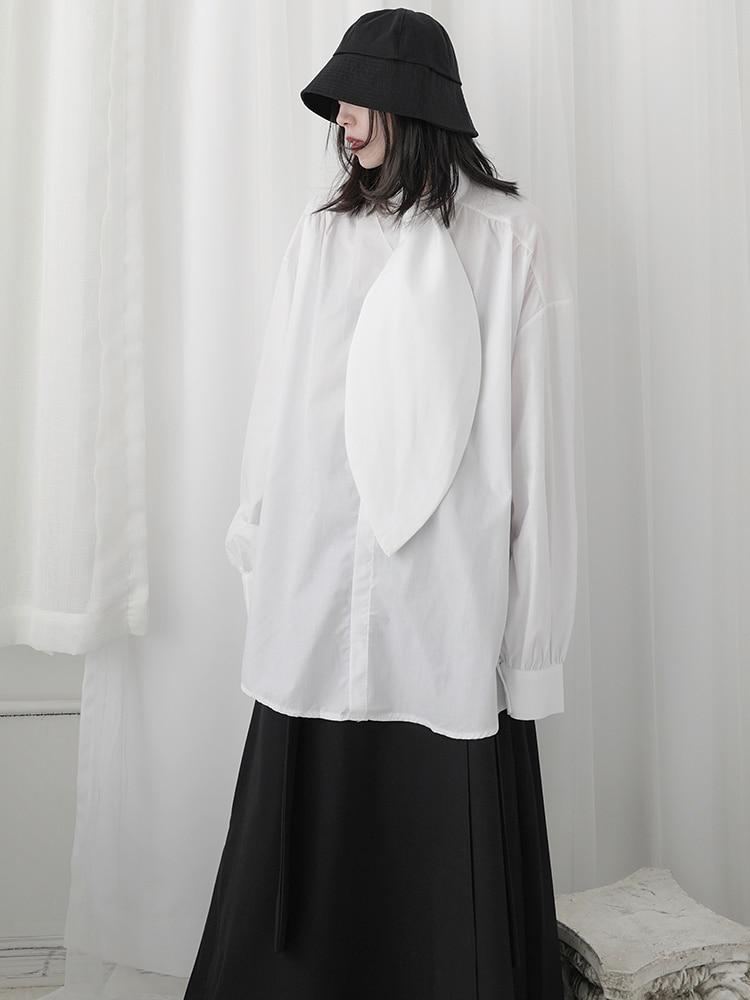 Yamamoto-قميص نسائي بأكمام طويلة ، قميص قطني بتصميم ياباني ضيق مع ربطة عنق