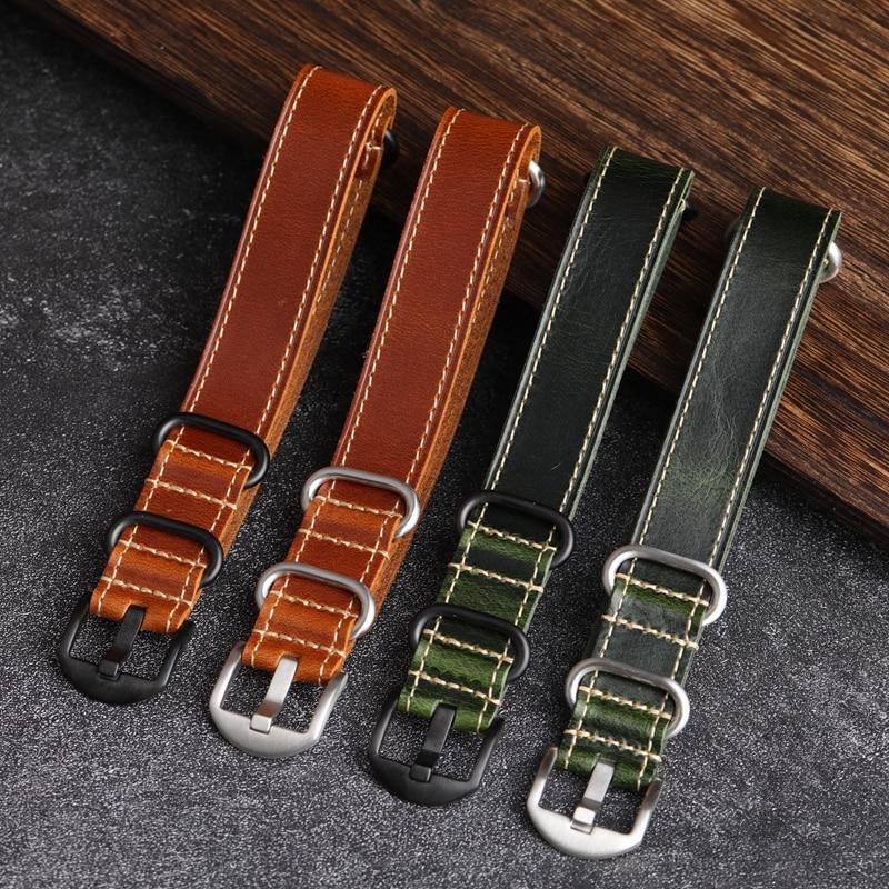 MERJUST Handmade Vintage 20mm 22mm Brown Green G10 Genuine Leather NATO Watchband  For Amry Pilot Wa