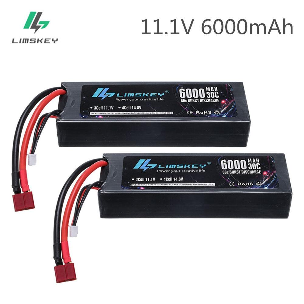 2 uds Limskey 3s 6000mAh lipo batería 11,1 V RC coche 3S Lipo batería 11,1 V lipo rc batería fpv 30/60C con enchufe decanos para camión