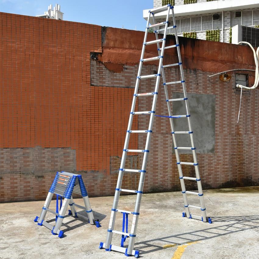 JJS511 High Quality Thickening Aluminium Alloy Herringbone Ladder Portable Household Telescopic Ladders 13+13 Steps(3.85M+3.85M)
