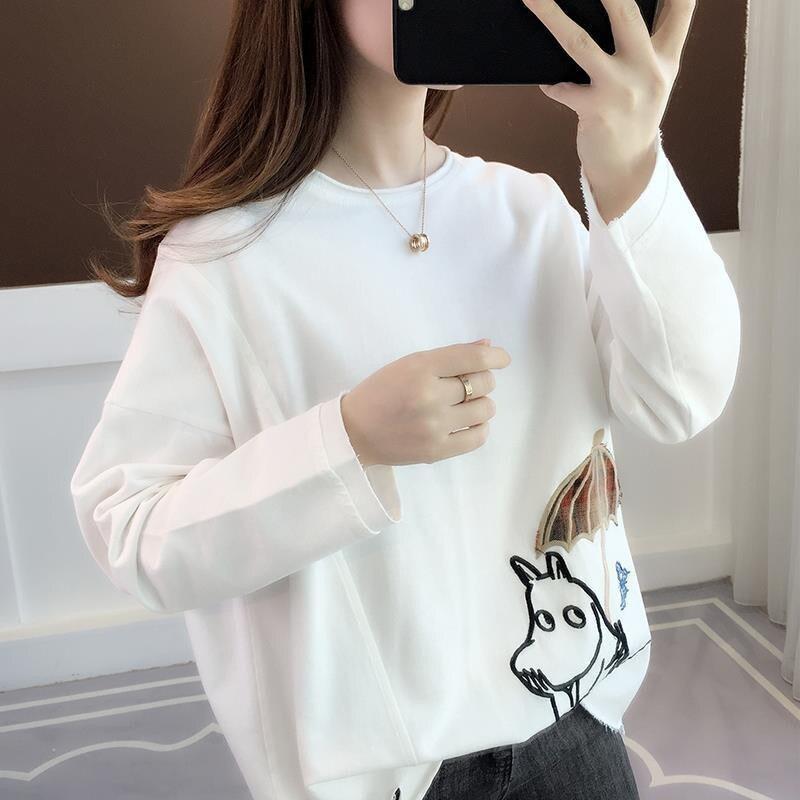 High Street Damen T-shirt Mädchen Schule Schwarz Weiß Frauen Damen Streetwear Cartoon Gedruckt Mädchen Studenten Sweatshirt