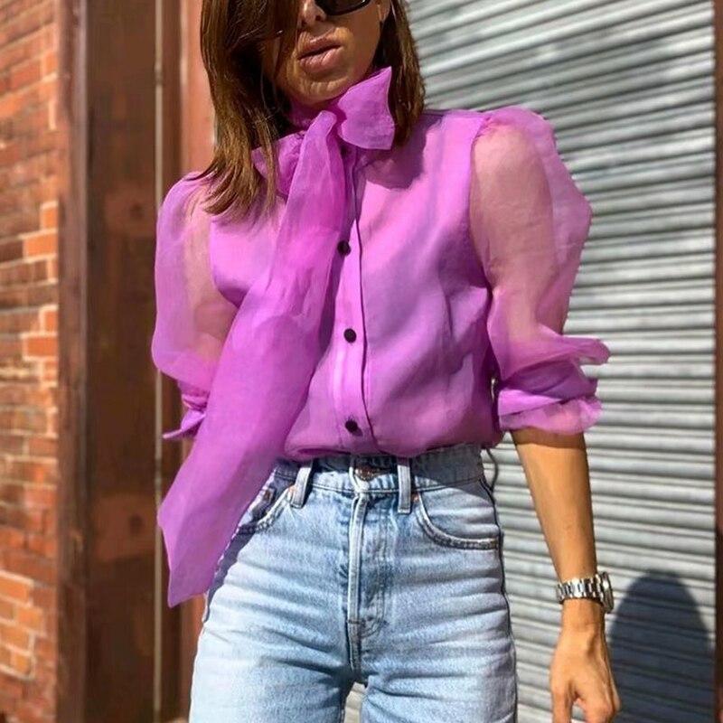 Blusas Vintage transparentes con lazo para mujer, moda 2019, camisas bohemias con botones de malla, top femenino elegante para mujer