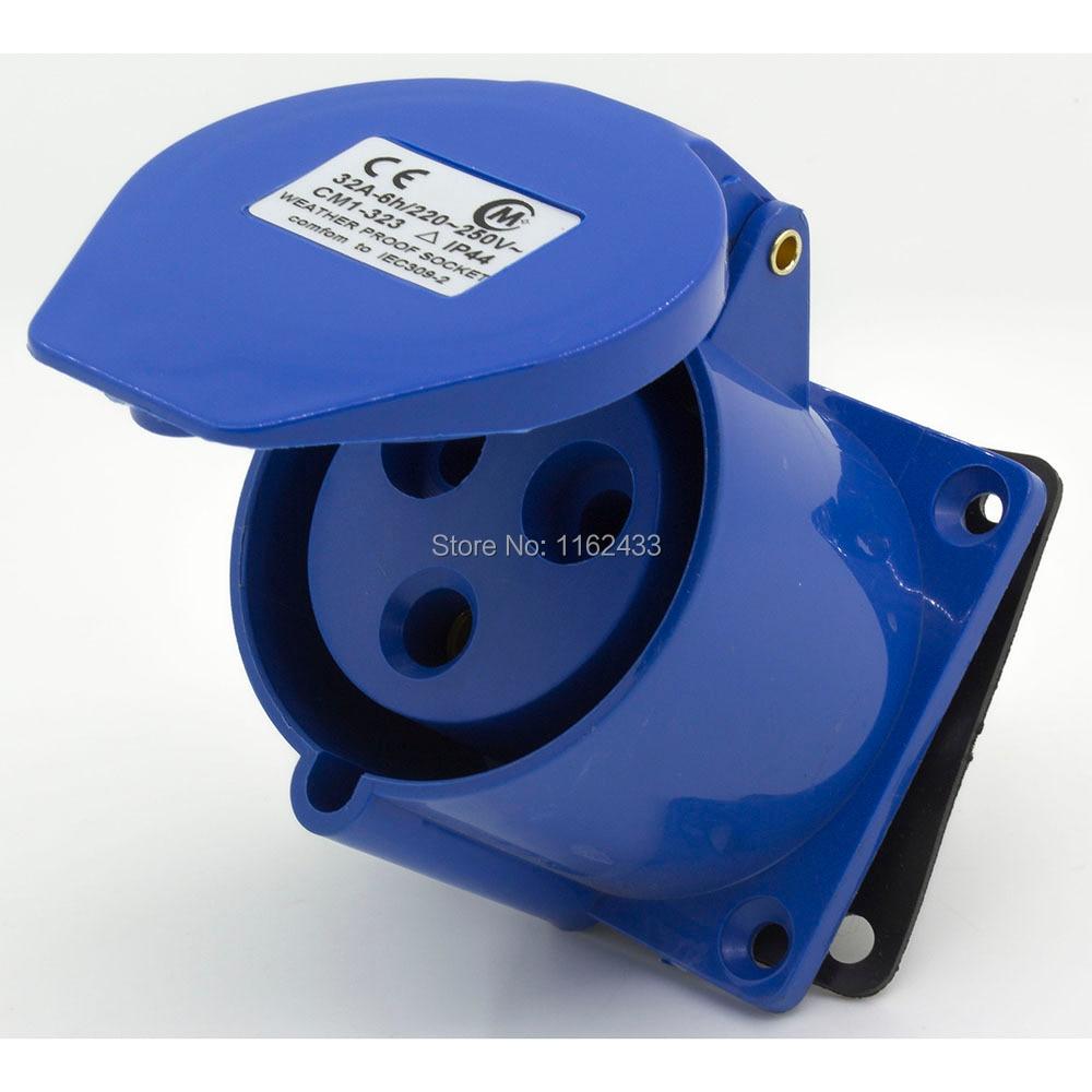 32A 2P E 3pin 220-240V IP44 323 monofásico a prueba de salpicaduras industrial