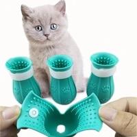 cat foot cover pet anti scratch and bite silicone cover anti scratch cat shoes pet bath paw cover cat supplies