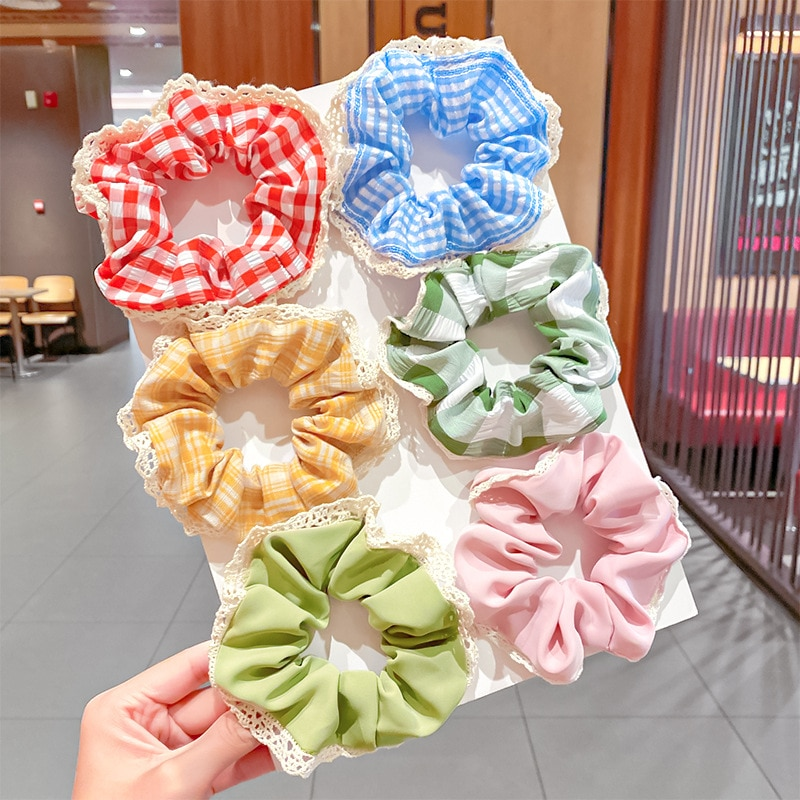 Ruoshui 2pcs Woman Girls Sweet Lace Scrunchies Set Women Hair Ties Girls Elastic Hairband Hair Accessories Headwear Rubber Band