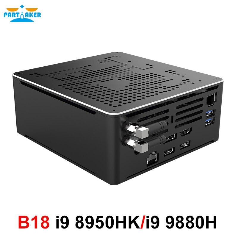 Причастник игровой компьютер мини ПК Intel Core i9 8950HK i9 9880H i7 9850H 4K HD Windows 10 Pro 2 * DDR4 2 * M.2 NVME AC WiFi DP HDMI