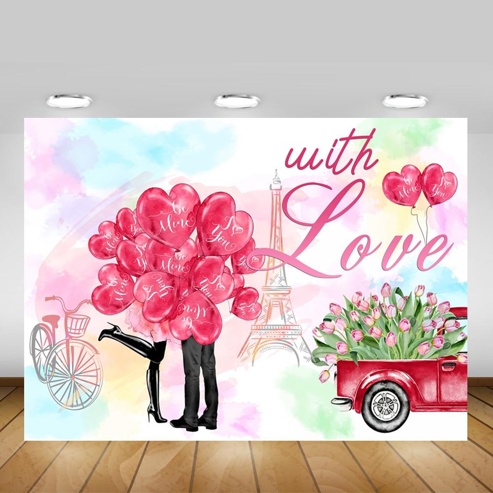Fondo de otoño con amor para fotografía regalos románticos para el Día de San Valentín fondo de globos de amor rosa roja Torre Eiffel sesión fotográfica