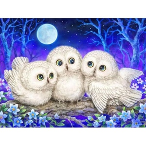 Three Cute Owls Full 5D DIY Diamond Painting White Owl Animals Needlework Diamond Embroidery Cross Stitch Square Rhinestones