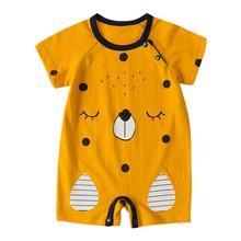 Baby Summer Girl Cartoon Animal Print Short Sleeve Kids Girls Boys Jumpsuit Newborn Baby Clothes Rompers Cloths