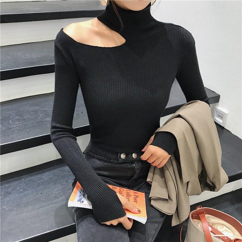 Jersey con hombros descubiertos, jersey para mujer, jersey de manga larga de 3 colores, jersey para mujer, ropa Sexy negra, blanca, gris