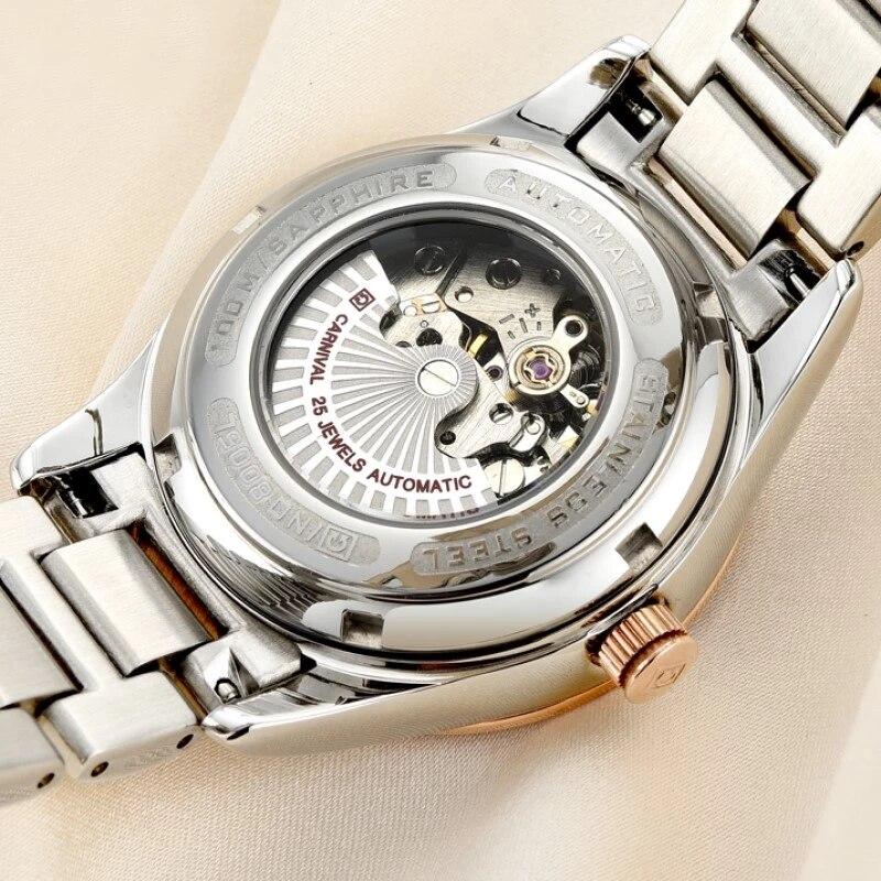 Reloj Mujer CARNIVAL Brand Luxury Women Mechanical Watch Ladies Fashion Waterproof Luminous Sapphire Automatic Wristwatch Clock enlarge