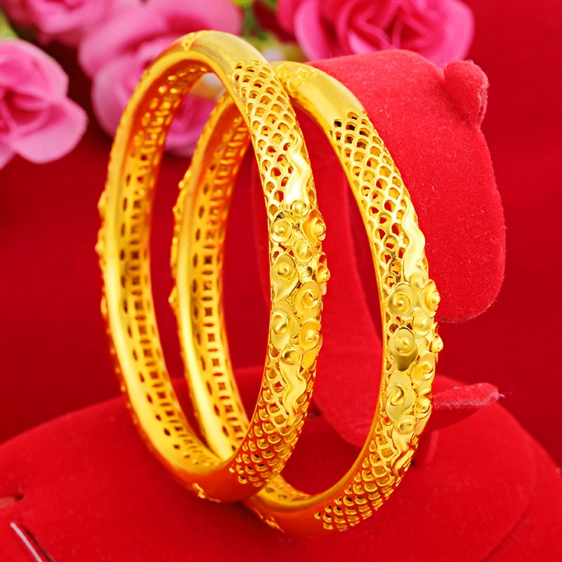Женский позолоченный жесткий браслет Forever Not Fade, 18 К, золото, ювелирное изделие