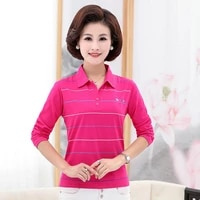 spring autumn striped polo shirt women red navy blue gray purple long sleeve turn down collar cotton top mother casual clothes