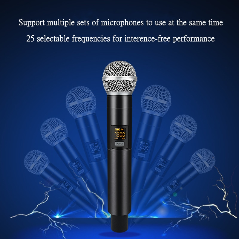 25 Frequency UHF Wireless Microphone Handheld Dynamic Mic System for Karaoke Over PA Mixer Speaker Output 6.35mm 1/4
