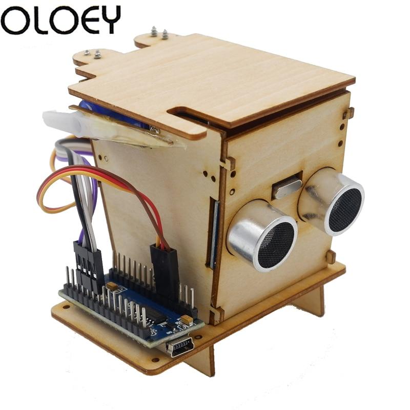 Electronics Kit programming education robot Smart Trash Kids boy DIV Wooden Experimental suite supports Robotics Nano For Kit