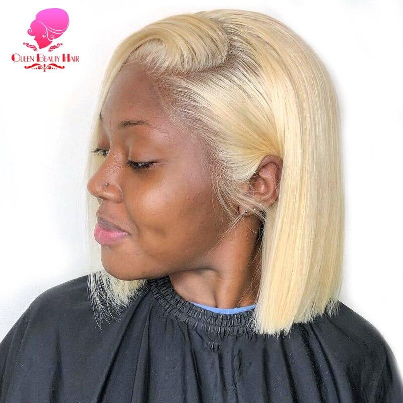 Königin 13x 6 613 Blonde Brasilianische Gerade Menschliches Haar Bob Perücken 8 - 16 Inch Remy Kurze Ombre Bob Spitze vordere Perücken für Schwarze Frauen