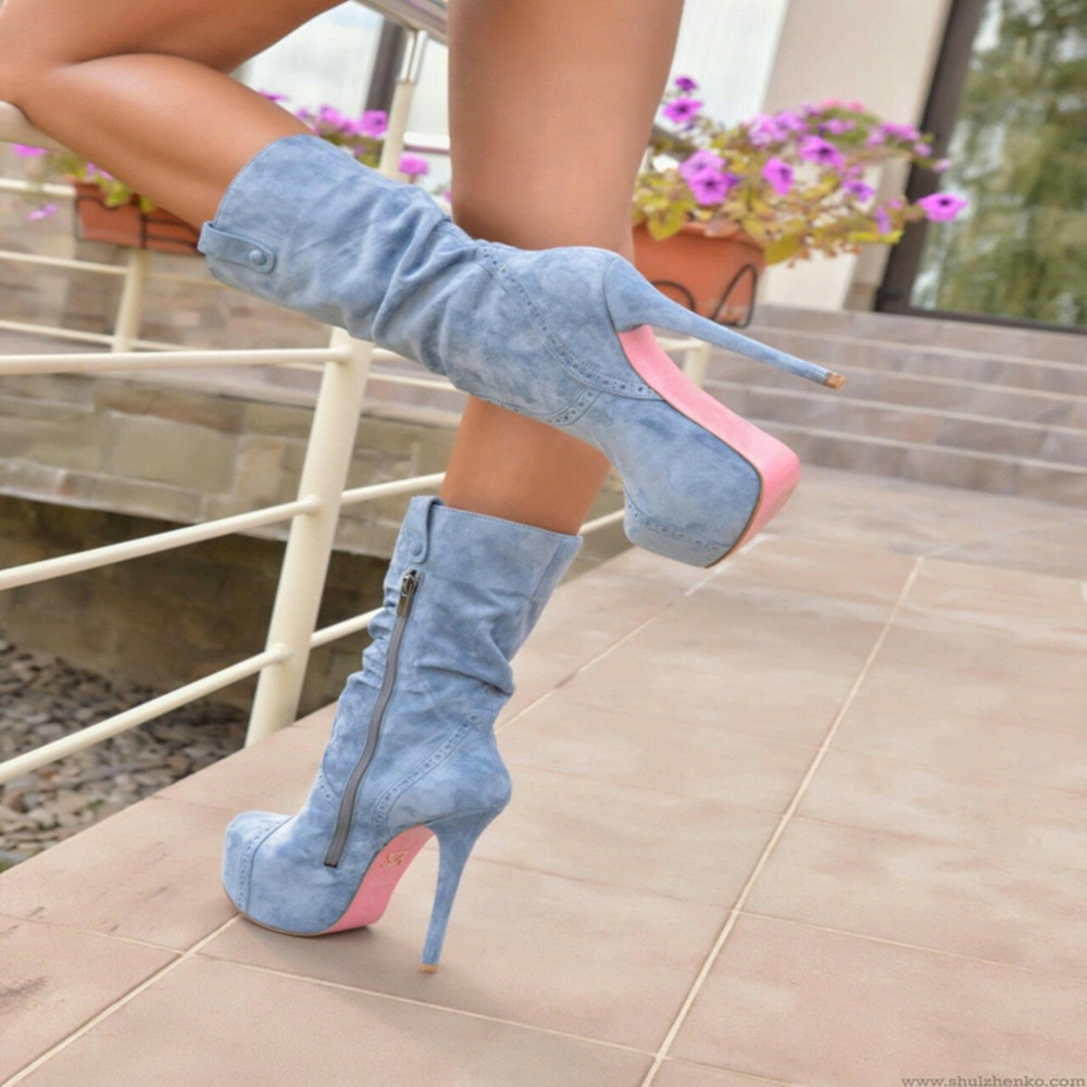 women boots high heels mid calf boots peep toe women shoes 19cm sexy lady party club pvc platform shoes zapatos mujer size 34 47 Women Sexy Shoes 2021 New Brand Design Platform Thin High Heels Fashion Winter Party Women Shoes Woman Mid Calf Boots Female