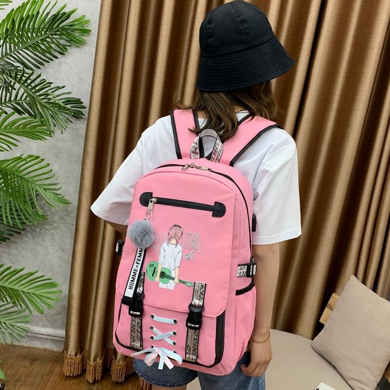 Large School Bags for Teenage Girls Backpack Women Bookbags Student Nylon Printing College Schoolbag